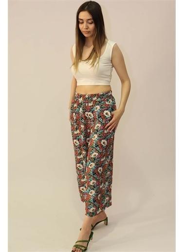Curly Çiçek Desenli Bol Pantolon Fuşya